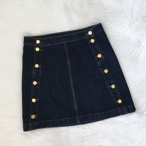 J Brand Gold Button Front Denim Jean Mini Skirt